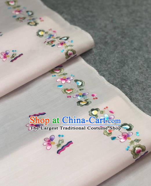 Traditional Chinese White Silk Fabric Classical Embroidered Flowers Pattern Design Brocade Fabric Asian Satin Material