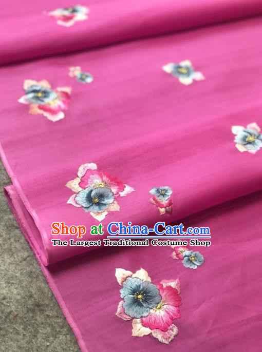 Traditional Chinese Rosy Silk Fabric Classical Embroidered Flowers Pattern Design Brocade Fabric Asian Satin Material