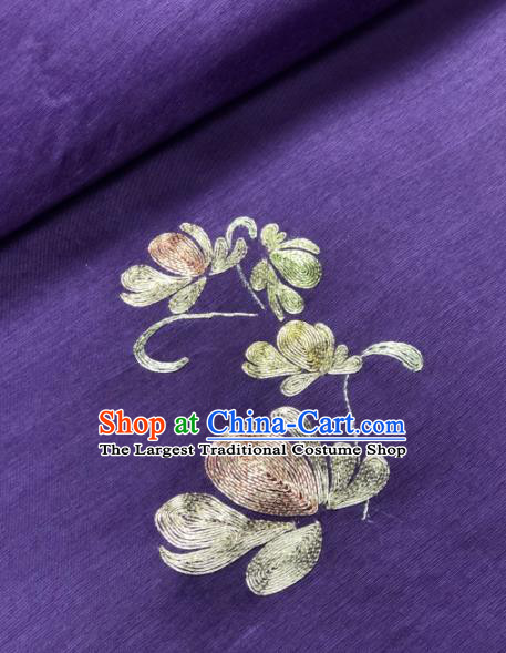 Traditional Chinese Purple Silk Fabric Classical Embroidered Flowers Pattern Design Brocade Fabric Asian Satin Material
