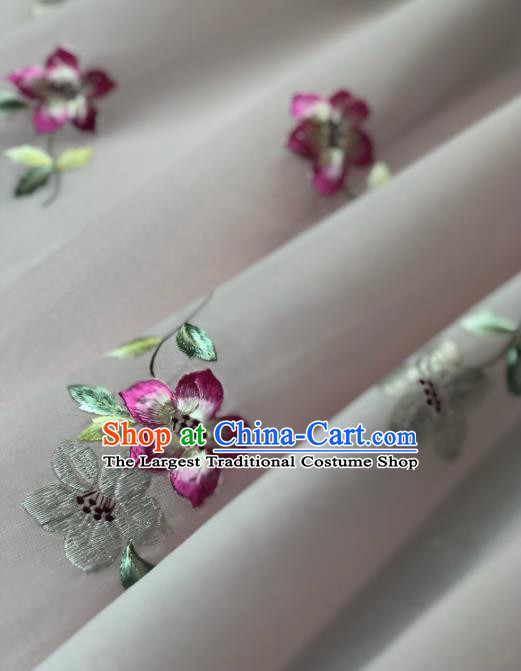 Traditional Chinese Silk Fabric Classical Embroidered Flowers Pattern Design Brocade Fabric Asian Satin Material