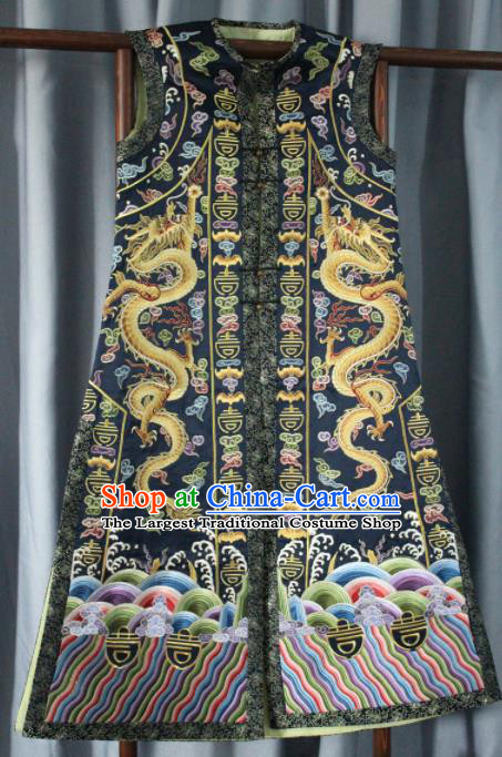 Chinese Traditional Drama Manchu Empress Embroidered Vest Ancient Qing Dynasty Queen Costume for Women