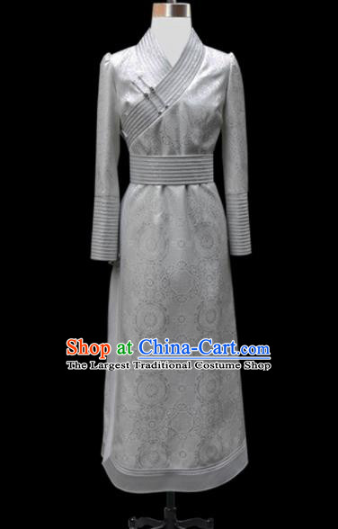 Traditional Chinese Mongol Ethnic National Grey Dress Mongolian Minority Folk Dance Costume for Women