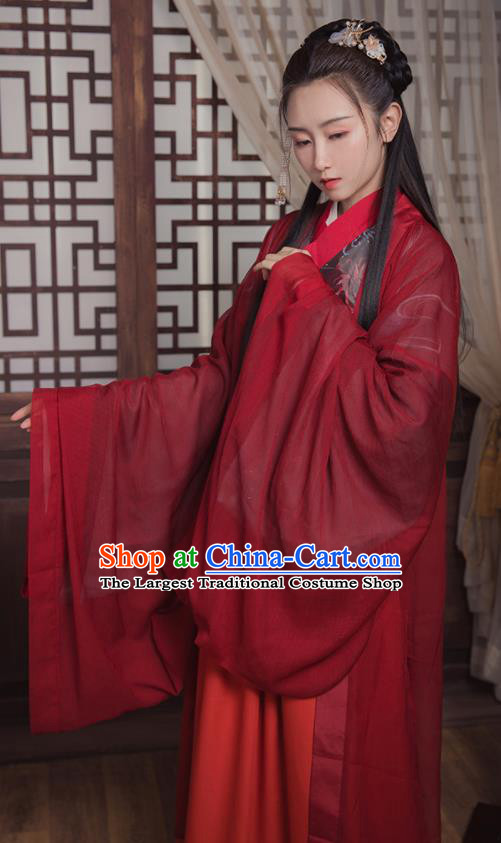 Ancient Chinese Jin Dynasty Wedding Replica Costume Traditional Court Princess Red Hanfu Dress for Women