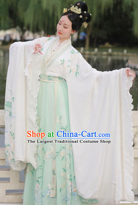 Ancient Chinese Imperial Consort Goddess Green Hanfu Dress Traditional Jin Dynasty Embroidered Replica Costume for Women