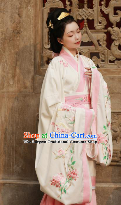 Chinese Ancient Han Dynasty Court Princess Hanfu Dress Traditional Imperial Consort Embroidered Replica Costume for Women