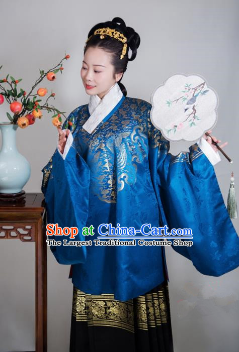 Chinese Ancient Ming Dynasty Infanta Hanfu Dress Traditional Wedding Young Mistress Embroidered Replica Costume for Women