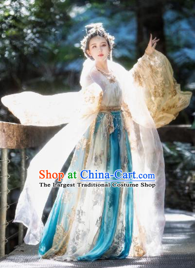 Chinese Traditional Tang Dynasty Palace Princess Hanfu Dress Ancient Court Lady Dance Replica Costume for Women