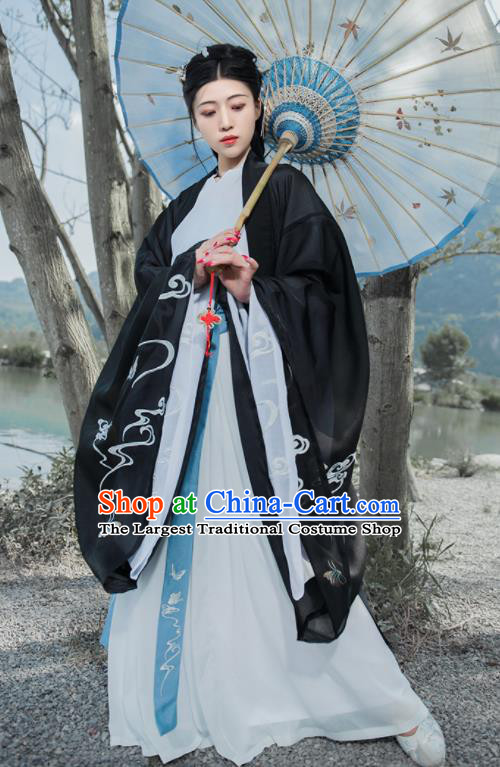 Chinese Ancient Imperial Concubine Embroidered Hanfu Dress Antique Traditional Jin Dynasty Court Historical Costume for Women