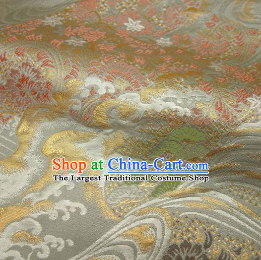 Japanese Traditional Kimono Classical Wave Pattern Argent Brocade Damask Asian Japan Nishijin Satin Drapery Silk Fabric