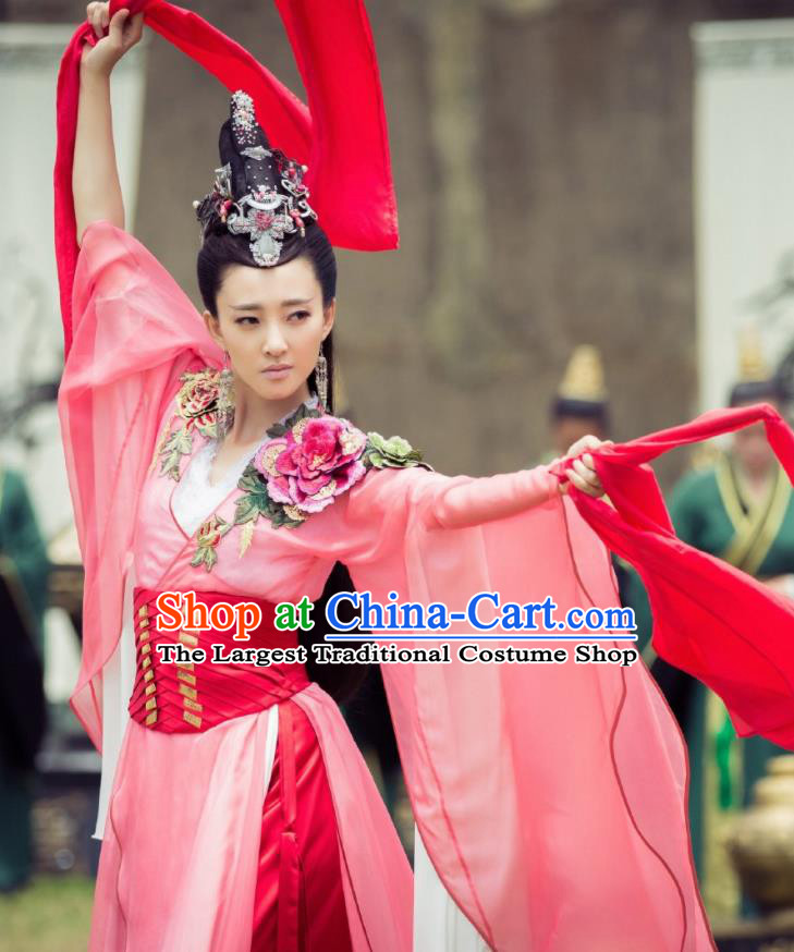 Chinese Ancient Dancer Hanfu Dress The Legend of Deification Shang Dynasty Imperial Consort Su Daji Historical Costume and Headpiece