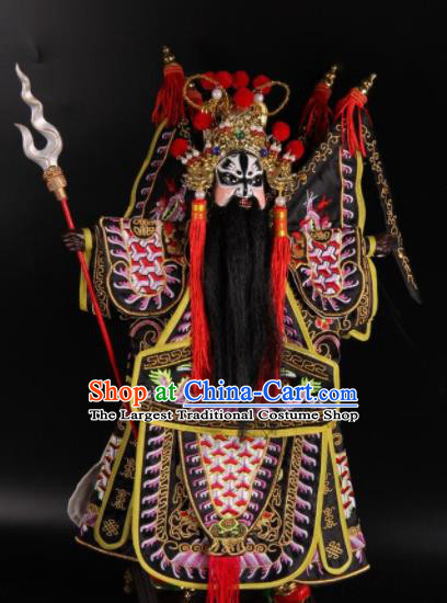 Traditional Chinese Handmade Pink Armor Zhang Fei Puppet Marionette Puppets String Puppet Wooden Image Arts Collectibles