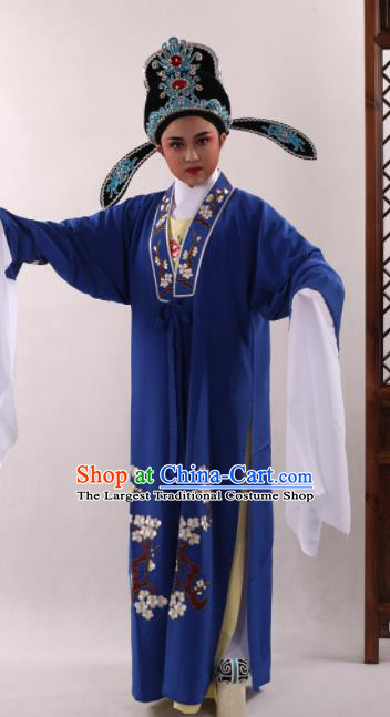 Traditional Chinese Huangmei Opera Niche Royalblue Cape Ancient Gifted Scholar Costume for Men
