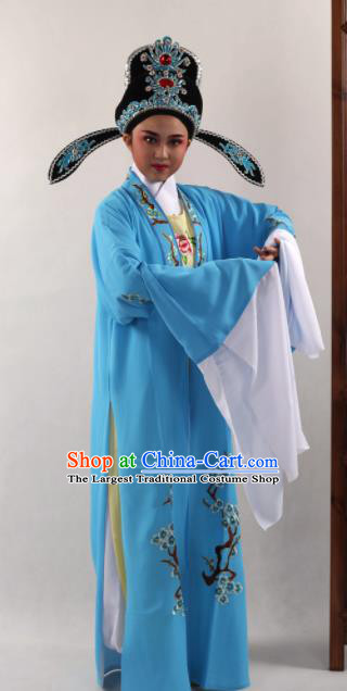 Traditional Chinese Huangmei Opera Niche Blue Cape Ancient Gifted Scholar Costume for Men