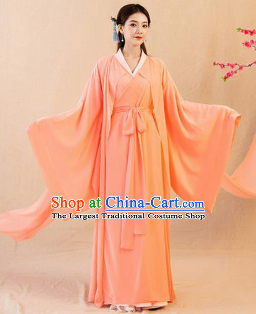 Chinese Ancient Drama Goddess Orange Hanfu Dress Traditional Jin Dynasty Princess Replica Costumes for Women
