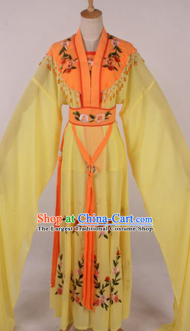 Chinese Traditional Shaoxing Opera Seven Fairies Yellow Dress Ancient Peking Opera Actress Costume for Women