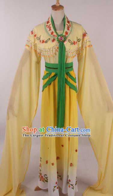 Chinese Traditional Huangmei Opera Seven Fairies Yellow Dress Ancient Peking Opera Actress Costume for Women