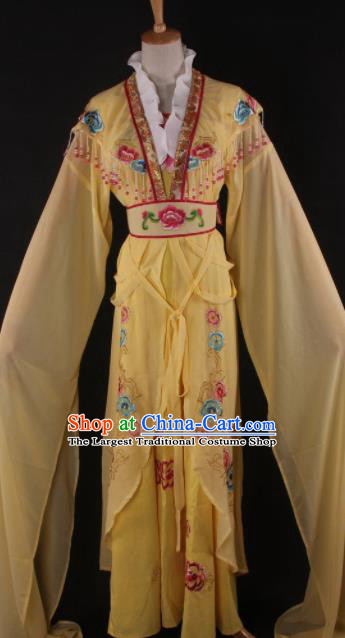 Professional Chinese Beijing Opera Palace Princess Yellow Dress Ancient Traditional Peking Opera Diva Costume for Women