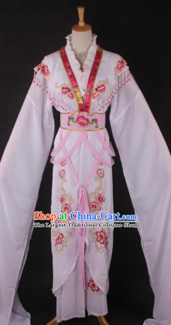Professional Chinese Beijing Opera Palace Princess White Dress Ancient Traditional Peking Opera Diva Costume for Women