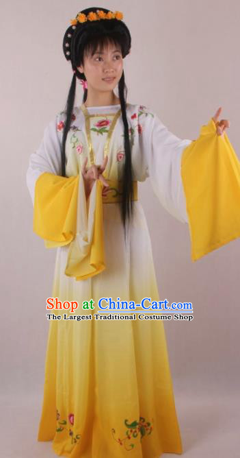 Professional Chinese Beijing Opera Fairy Yellow Dress Ancient Traditional Peking Opera Diva Costume for Women