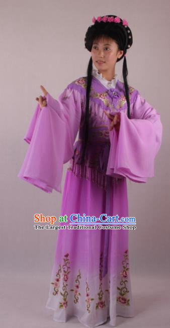 Professional Chinese Beijing Opera Rich Lady Purple Dress Ancient Traditional Peking Opera Diva Costume for Women