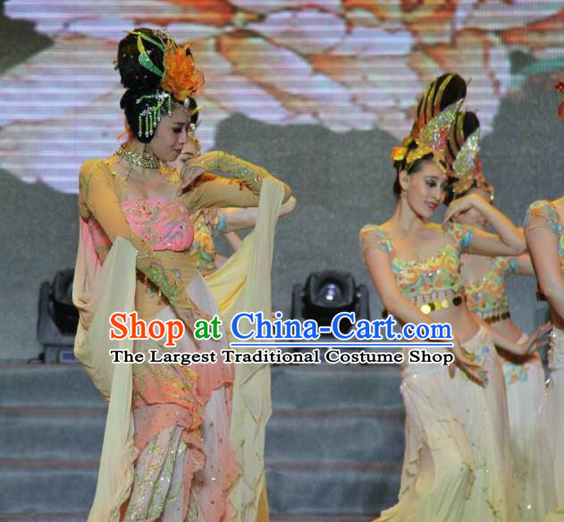 Traditional Chinese Classical Dance Flying Apsaras Costume Beautiful Dance Fei Tian Wu Dress for Women