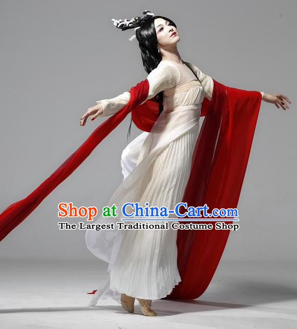Traditional Chinese Classical Dance Confucius Costume Court Lady Stage Show Beautiful Dance White Dress for Women