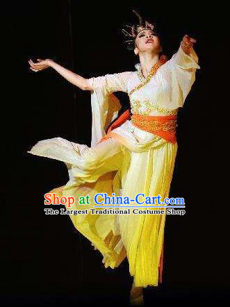 Traditional Chinese Classical Dance Luo Shen Costume Stage Show Beautiful Dance Yellow Dress for Women