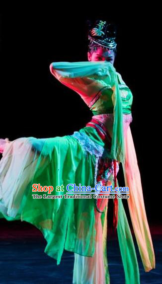 Traditional Chinese Classical Dance Lv Dai Dang Feng Green Water Sleeve Costume Stage Show Beautiful Dance Dress for Women