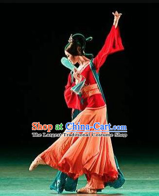 Traditional Chinese Classical Dance Qiu Feng Ci Costume Stage Show Beautiful Dance Red Dress for Women