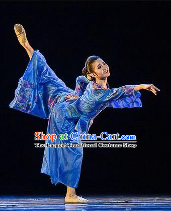 Traditional Chinese Classical Dance Qiu Jin Costume Ballet Stage Show Beautiful Dance Blue Dress for Women