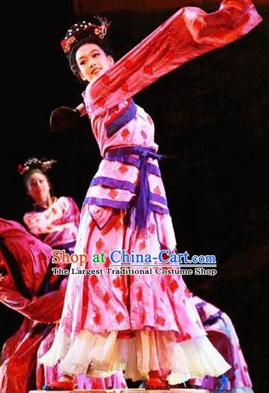Chinese Beautiful Dance Xiang He Ge Pink Costume Traditional Water Sleeve Dance Classical Dance Competition Dress for Women