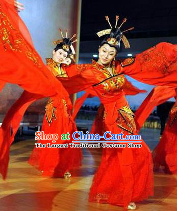Chinese Beautiful Dance Xi Shi Water Sleeve Red Costume Traditional Umbrella Dance Classical Dance Competition Dress for Women