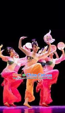 Chinese Beautiful Dance Xiu Ying Die Xiang Costume Traditional Fan Dance Classical Dance Competition Dress for Women