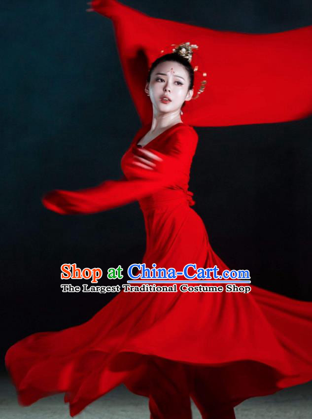 Beautiful Chinese Dance Yue Ren Song Dance Costume Traditional Classical Dance Red Dress for Women