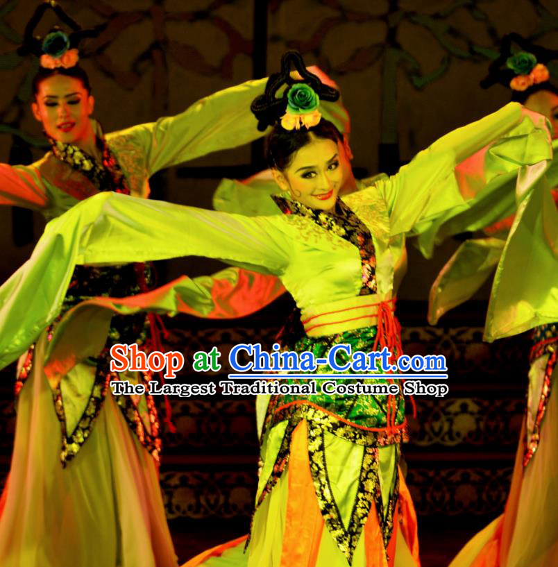 Chinese Beautiful Dance Classical Dance Competition Ta Ge Costume Traditional Stage Show Green Dress for Women