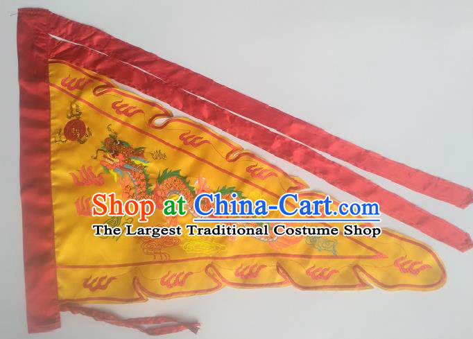 Chinese Traditional Embroidered Dragon Flag Dragon Boat Competition Golden Silk Triangular Flag