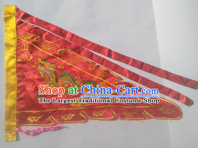 Chinese Traditional Dragon Boat Competition Embroidered Dragon Flag Red Silk Triangular Flag