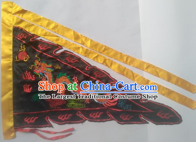 Chinese Traditional Dragon Boat Competition Embroidered Dragon Flag Black Silk Triangular Flag