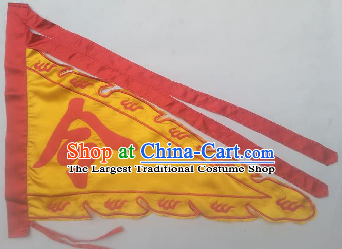Chinese Traditional Dragon Boat Competition Embroidered Dragon Flag Yellow Silk Triangular Flag