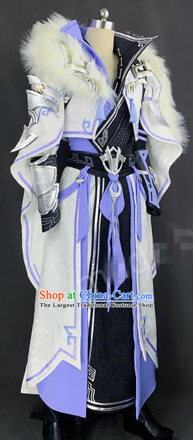Chinese Ancient Drama Cosplay King Young Knight White Clothing Traditional Hanfu Swordsman Costume for Men