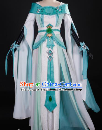 Chinese Ancient Cosplay Fairy Princess Green Dress Traditional Hanfu Female Knight Swordsman Costume for Women