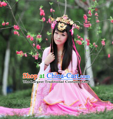 Traditional Chinese Cosplay Goddess Princess Pink Dress Ancient Fairy Swordswoman Costume for Women
