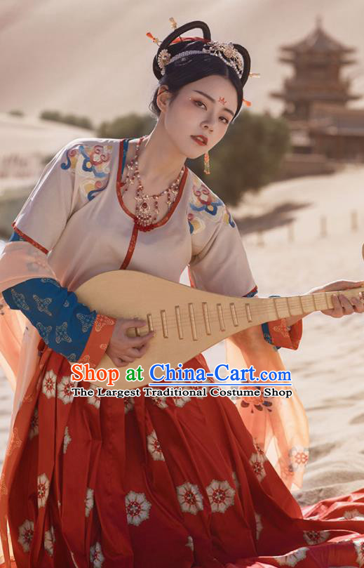 Chinese Ancient Dunhuang Flying Apsaras Dance Hanfu Dress Traditional Tang Dynasty Court Lady Costumes for Women