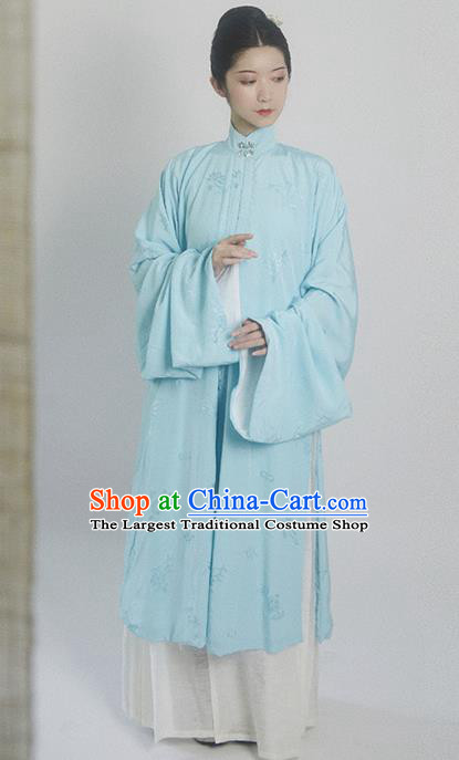 Traditional Chinese Ming Dynasty Princess Blue Hanfu Dress Ancient Drama Court Dowager Replica Costumes for Women