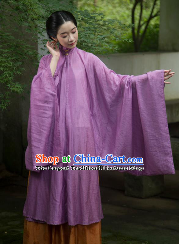 Traditional Chinese Ming Dynasty Palace Lady Purple Long Gown Ancient Drama Princess Replica Costumes for Women