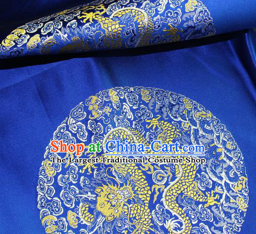 Asian Chinese Traditional Round Dragon Pattern Design Royalblue Brocade Fabric Cheongsam Silk Material