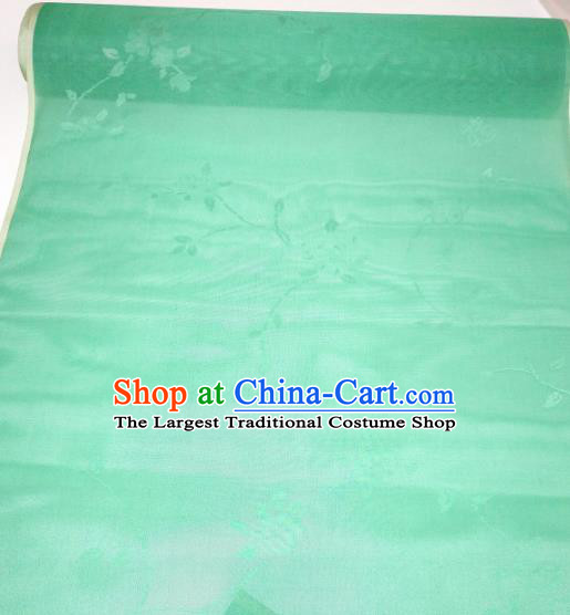 Asian Chinese Traditional Flowers Branch Pattern Design Green Silk Fabric China Hanfu Silk Material