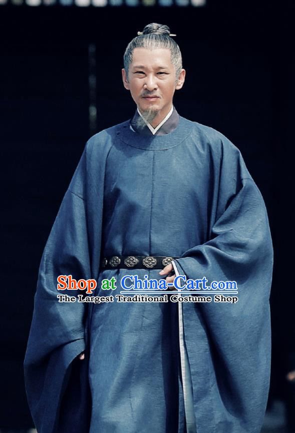 Chinese Ancient Song Dynasty Minister Drama Royal Nirvana Grand Preceptor Lu Shiyu Replica Costumes and Headpiece Complete Set