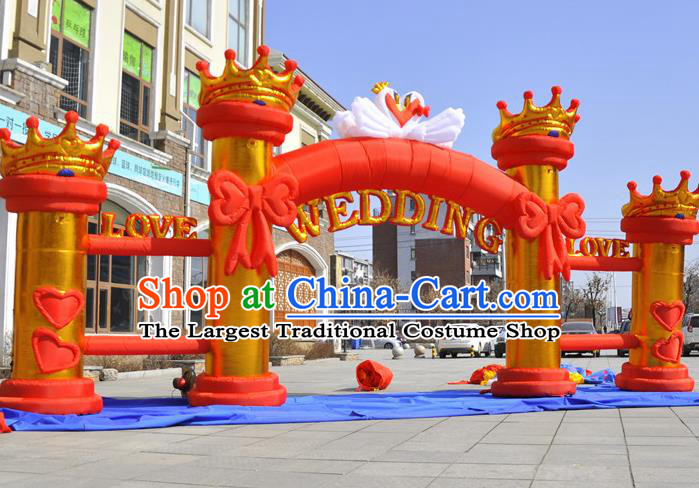 Large Christmas Day New Year Inflatable Models Wedding Red Bowknot Inflatable Arches Archway