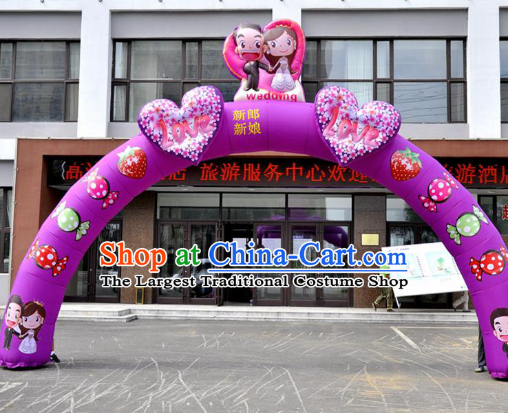 Large Chinese Wedding Inflatable Purple Archway Product Models New Year Inflatable Arches